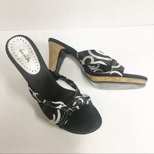 Sam & Libby Black & White Mule Heel Sandals